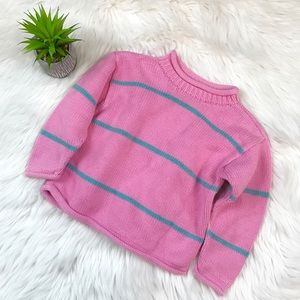 Hanna Andersson Pink & Teal Striped Sweater